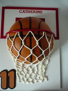 Basketball for Catherine - Another basketball cake, this time for Catherine, 11 years old. This is a popular design! She plays basketball and she loves it. This is a marble cake with chocolate ganache filling all covered with fondant. The decorations, letters, numbers, basket... are also fondant. I used tulle fabric to embossed the ball so it looks like leather.