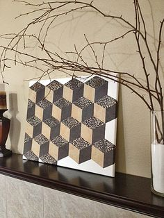 "DIY Wall Art - ""Tumbling Blocks"" pattern using scrapbook paper and Mod Podge. Free template on click-through."