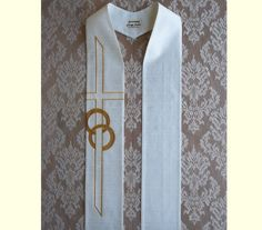 White Clergy Stole for Weddings in Natural by SerendipityStoles, $180.00