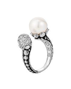 Dot Pearl & Pave Diamond Ring, Size 7, Women's, SILVER - John Hardy