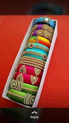 Silk Thread Jhumkas, Silk Thread Bangles Design, Silk Thread Necklace, Silk Bangles, Bridal Bangles, Thread Jewellery, Fabric Jewelry, Bangles Making, Jewelry Making