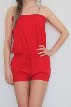 Romper jumpsuit with short legs summer , red color  vintage overall Jumpsuits  pockets  size S 100 % cotton