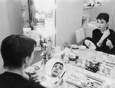 Audrey photographed for Mademoiselle in 1954 in her dressing room backstage at Ondine.