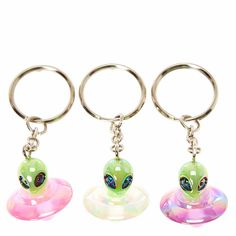 417574520 Glow In the Dark Alien Key Chains Stackable Birthstone Rings, Galaxy Planets,  Strange Magic