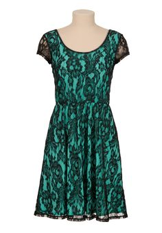 Cap sleeve Contrast lace dress--Maurice's