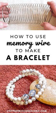Handmade Jewelry Tutorials, Handmade Wire Jewelry, Diy Crafts Jewelry, Bracelet Crafts, Diy Jewelry Making, Handmade Bracelets, Bracelet Making, Jewelry Ideas, Memory Wire Jewelry