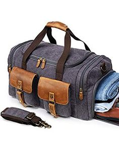 bd472434b94d Canvas Duffle Bag Overnight Bags for Men Weekend Travel Duffel Weekender  Bags Canvas Leather Gym Travel Shoulder Tote Carry On Luggage Large Shoe ...