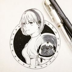 #inktober #inktober2015 #ink #space #girl #dog #pug #illustration #copic