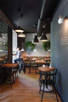 restaurant wall I Feel espresso bar, Kryvyj Rih, 2015 - Azovskiy amp; Bar Restaurant Design, Decoration Restaurant, Deco Restaurant, Vintage Restaurant, Pub Decor, Lisbon Restaurant, Bistro Decor, Black Restaurant, Restaurant Specials