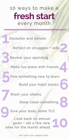 10 ways to make a fresh start every month - My Fresh Perspective