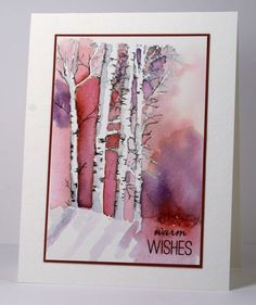 Birch trees Heather Telford Not really Stampin Up!!! Stamped Landscapes, Watercolour, Winter Song | Tags: Fabriano Watercolour Paper, Penny Black stamps, Ranger Distress stains