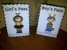 restroom passes in clear 5x7 frames for the kiddos to put at their seats when they are gone!