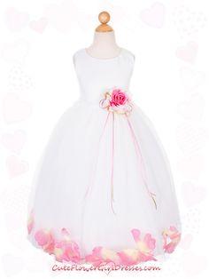 White or Ivory with Fushia Satin Bodice Skirt Flower Girl Dress