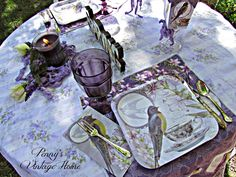 I have set up a card table for H and I to enjoy our breakfast outside this morning. I like to use card tables to eat on in the yard. Card Tables, Table Cards, All Things Purple, Dollar Tree, Tree Decorations, Homemaking, Lilac, Tuesday, Decorating