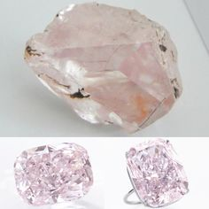 "Before... After - Discovered and mined in South Africa in 2015, the rough crystal was studied with extreme precision during the course of one year before it was passed to the hands of a master cutter. ""THE RAJ  PINK"" - The World's Largest known Fancy Intense Pink Diamond - Magnificent fancy intense pink diamond ring. Set with a cushion modified brilliant-cut fancy intense pink diamond weighing 37.30 carats. GIA / the diamond is Fancy Intense Pink, Natural Colour, VS1 Clarity, Excellent…"