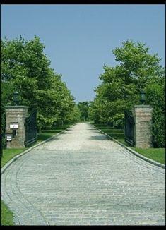 Southampton grand entrance and driveway - eclectic - landscape - new york - John Cowen Landscape Associates Ltd.