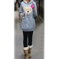 Women's Bear Hoodie Fleece Coat