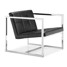 Zuo Carbon Chair Black - 500073. With a perfectly angled seat and back, the Carbon has soft leatherette tufting wrapped in a square chrome steel tube frame.
