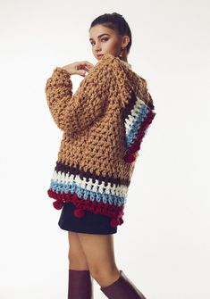 Crochet Cardigan, Knit Crochet, Crochet Style, Moda Hippie Chic, Casual Outfits, Cute Outfits, Holy Chic, Crochet Fashion, Crochet Clothes