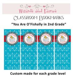 """Bookmarks for your students! """"You Are O'fishally in 2nd Grade"""""""
