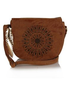 Another great find on #zulily! Cognac Embellished Medallion Crossbody Bag #zulilyfinds