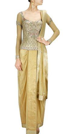 d68b30649afeae 15 Fashionable Corset Blouse Designs for Indian Sarees