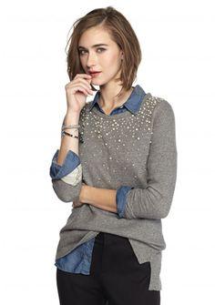 crown & ivy™ Pearl Sweatshirt - Belk.com