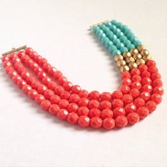 Multistrand statement necklace  Coral turquoise by ExperimentalOwl