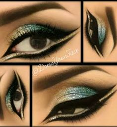 Gold, Blue, & Teal Glitter Eyes- Very cool, want to try something like this for fun some day