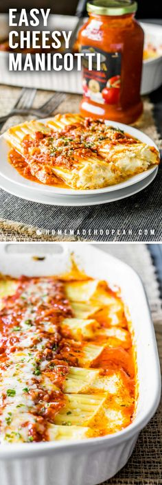 Easy Cheesy Manicotti! Bring a restaurant classic to your dinner table with this easy cheese manicotti recipe. With tender noodles, rich red sauce, and the delicious combination of ricotta, mozzarella, and parmesan, this dish makes a perfect weeknight dinner and great leftovers. #sponsored | HomemadeHooplah.com