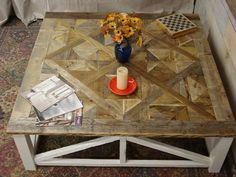 Parquet X Driftwood Coffee Table 55 x 55 x