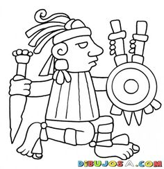 21dediciembredel2012 Dibujo De Figura De Geroglifico Maya Para Pintar Y Colorear…