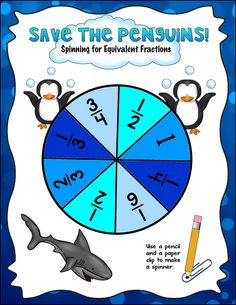 Comparing fractions games, lessons, and activities (penguin fractions) . Comparing Fractions, Math Fractions, Equivalent Fractions, Math Fraction Games, Math Games, Student Games, Kindergarten Math, Teaching Math, Teaching Resources