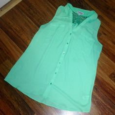 Express Sleeveless Mint Green Portofino Shirt Express Sleeveless Mint Green Portofino Shirt. Worn twice and in like new condition! Gorgeous mint color with floral lace detail in back! Perfect for spring! True to size! Open to offers! Express Tops Blouses