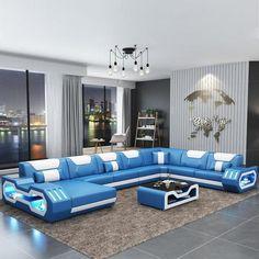 Modern living room furniture leather sofa set with LED lights Corner Sofa Design, Living Room Sofa Design, Corner Sofa Living Room, Furniture Sofa Set, Leather Living Room Furniture, Coaster Furniture, Furniture Upholstery, Modern Leather Sofa, Leather Sofa Set