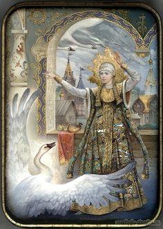 Beautiful and smart princess, a character of traditio… Russian lacquer miniature. Beautiful and smart princess, a character. Fairytale Fantasies, Fairytale Art, Swans, Illustrations, Illustration Art, Eslava, Russian Folk Art, Box Art, Fantasy Art