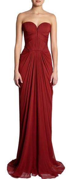 J. Mendel Sweetheart Bodice Gown - love the dark red!