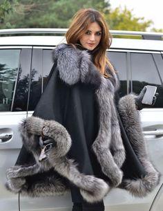 NEW CASHMERE SILVER FOX FUR PONCHO CLASS- SABLE MINK CHINCHILLA COAT JACKET CAPE