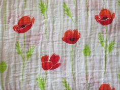 Red Poppy Double Gauze Swaddle Blanket - Red - Scarlet - Floral - Flowers -  Poppies - Baby Crib Blanket - Baby Gift - Hannahs Homestead2 by HannahsHomestead2 on Etsy