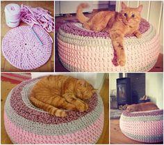 Crochet-Cat-Bed free pattern #diy #craft #pets