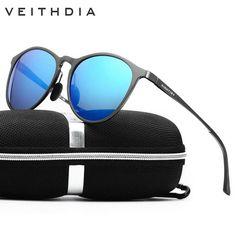VEITHDIA  Aluminum Alloy Frame Super Thin HD Lens Men's Women's Polarized Sun Glasses Round Shape oculos de sol masculino 6625