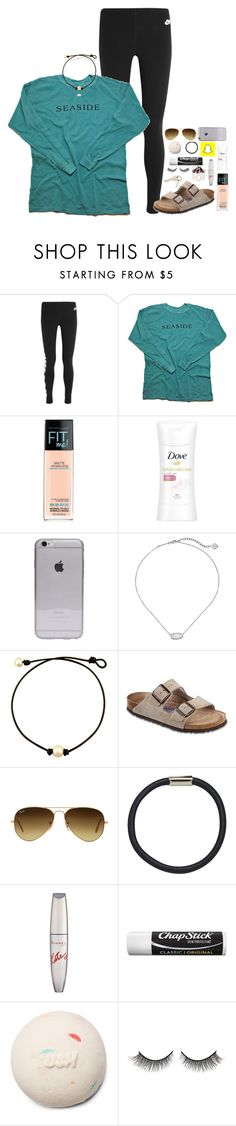"""1.4K by April 1?????"" by lydia-hh ❤ liked on Polyvore featuring NIKE, Maybelline, Dove, Kendra Scott, Birkenstock, Ray-Ban, Hershesons, Rimmel, Chapstick and Rimini"