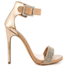 You'll marvel over the Marlen R by Steve Madden.  This glitzy style features a tan man made upper paired with metallic back and adjustable ankle strap.  A 5 1/2 inch heel boasts a confident strut while rhinestones gleam on the vamp and buckle.