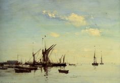 Art Renewal Center :: Edward Seago :: Barges in the Estuary