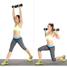 Pin for Later: Build Muscle and Boost Your Metabolism With This Weighted Workout Circuit Two: Split Squat With Overhead Press Full Body Circuit Workout, Dumbbell Workout, Dumbbell Exercises, Butt Workouts, Kettlebell, Morning Workouts, Training Exercises, Circuit Training, Fitness Workouts