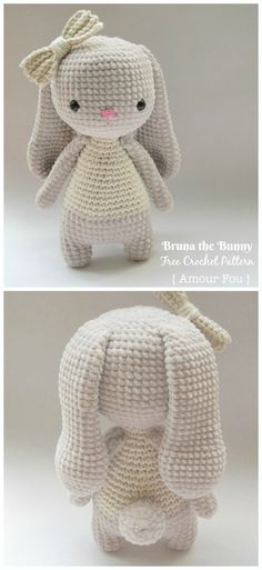 Amigurumi Bunny free crochet patterns - knitting is as easy as . - Amigurumi Bunny free crochet patterns – knitting is as easy as … - Crochet Easter, Bunny Crochet, Cute Crochet, Crochet Baby Toys, Crochet Penguin, Crocheted Toys, Crochet Teddy, All Free Crochet, Crochet Christmas