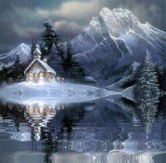 Grote animatie van een kerk - Kapel in de besneeuwde bergen aan water met golfjes
