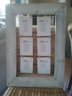 """White wash wedding seating chart. Sitting at your table is family and friends from both sides """"meet someone new as you sit down and chew"""""""