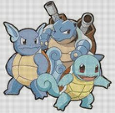 Pokemon Squirtle Evolutions (75 Colors) Cross Stitch Pattern