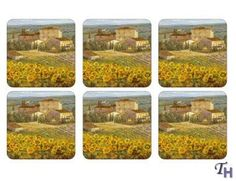 Pimpernel Tuscany Coasters - Set of 6 by Pimpernel. $17.95. Set of 6 coasters. Cork backed. Size: 4 inches by 4 inches. Pimpernel coasters are finished to the same high standard as the Pimpernel placemats and make an ideal companion to the matching placemats pattern.